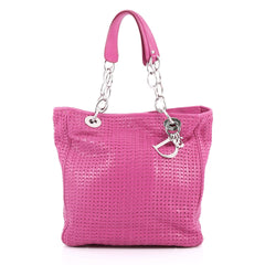 Christian Dior Soft Chain Tote Woven Leather Medium Pink 2661101