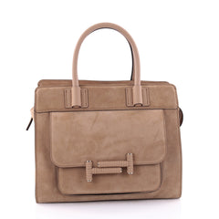 Tod's Double T Satchel Bag Suede Small Neutral 2665401