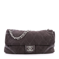 Chanel Rodeo Drive Flap Bag Quilted Fabric Large Gray 2666702