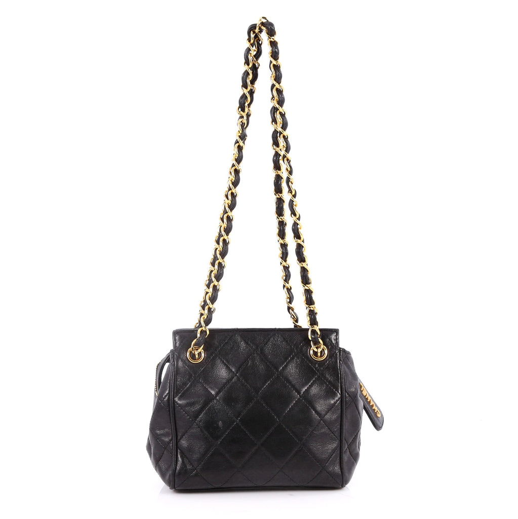Buy Chanel Vintage Zip Chain Shoulder Bag Quilted Leather