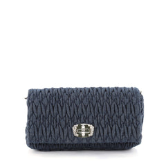 Miu Miu Crystal Clutch Matelasse Denim Small Blue 2669402