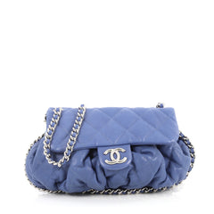 Chanel Chain Around Flap Bag Quilted Leather Medium Blue 2671707