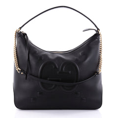 Gucci Chain Hobo GucciGhost Embossed Leather Large Black 2672401