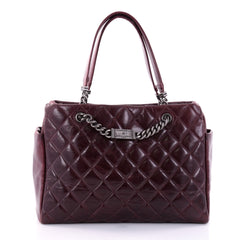 Chanel ID Chain Tote Quilted Glazed Calfskin Medium Red 2675101