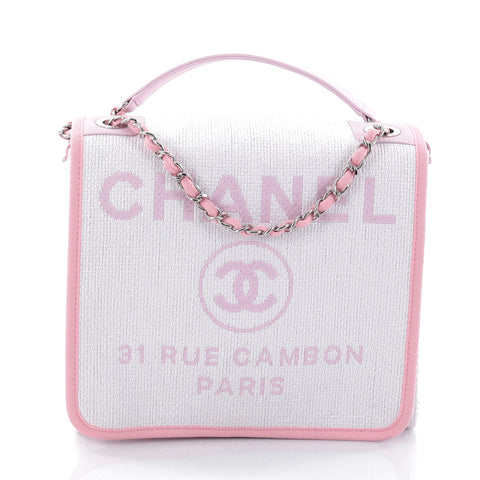 21d8c0a73bfd Buy Chanel Deauville Messenger Bag Canvas Small Pink 2678001 – Rebag