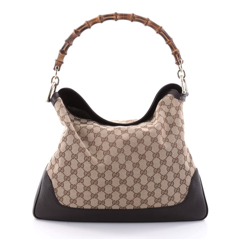 Buy Gucci Diana Bamboo Shoulder Bag GG Canvas Medium Brown 2678705 – Rebag f23501990c0e1