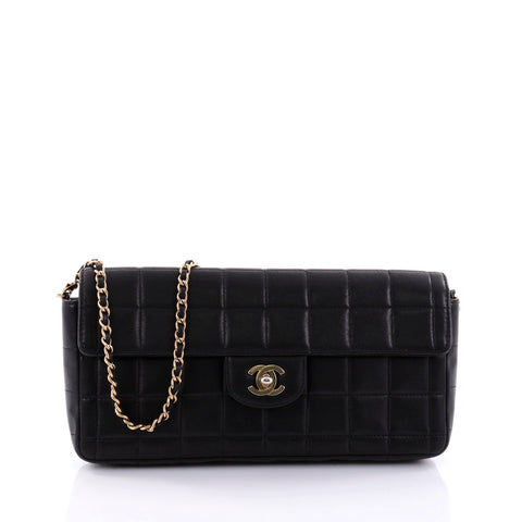 523b8813bb68 Buy Chanel Chocolate Bar Flap Bag Quilted Lambskin East West 2679201 – Rebag