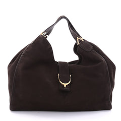 Gucci Soft Stirrup Tote Nubuck Large Brown 2681201