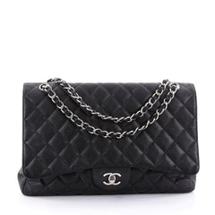 Chanel Classic Single Flap Bag Quilted Caviar Maxi Black 2682201