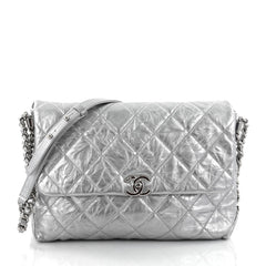 Chanel Big Bang Flap Bag Metallic Quilted Aged Calfskin Silver 2686001