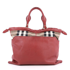 Burberry Big Crush Tote Leather and House Check Canvas Large Red 2686402