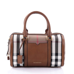 Burberry Alchester Convertible Satchel House Check and Leather Medium Brown 2686601
