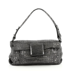 Nancy Gonzalez Flap Shoulder Bag Crocodile Small Gray 2688402