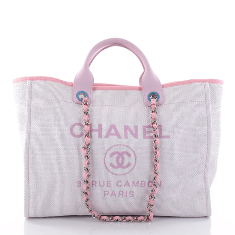 8c8cbbce8b8d Buy Chanel Deauville Chain Tote Canvas Large Pink 2688701 – Rebag