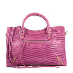 Balenciaga City Classic Studs Handbag Perforated Leather Medium Purple 2688802