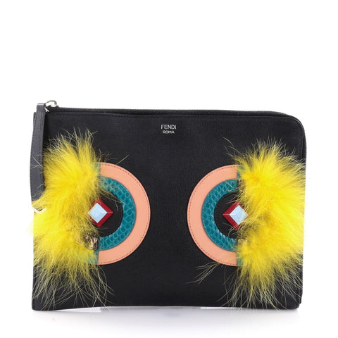 30c553b0b9d Buy Fendi Monster Pouch Leather with Fur Small Black 2693105 – Rebag