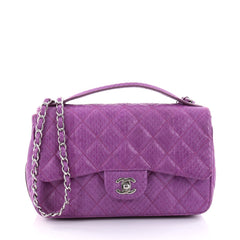 Chanel Easy Carry Flap Bag Quilted Snakeskin Medium 2695501