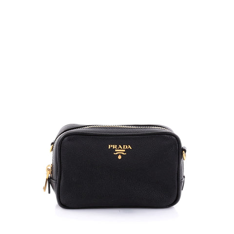 fa9df3780b88 Buy Prada Zip Crossbody Bag Vitello Daino Mini Black 2696601 – Rebag
