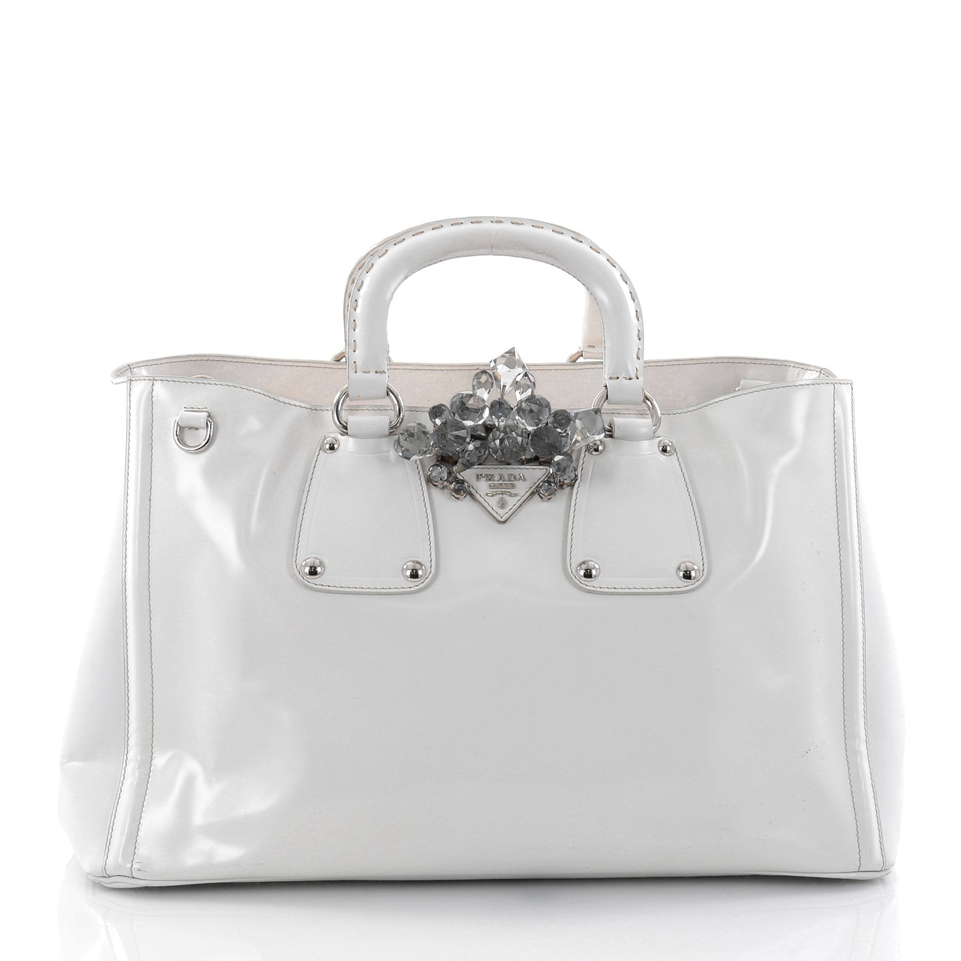 Crystal Double Handle Convertible Shopping Tote Spazzolato Fume Large