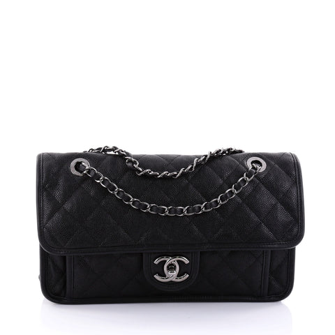 d3b2e8378785 Buy Chanel French Riviera Flap Bag Quilted Caviar Medium 2697201 – Rebag