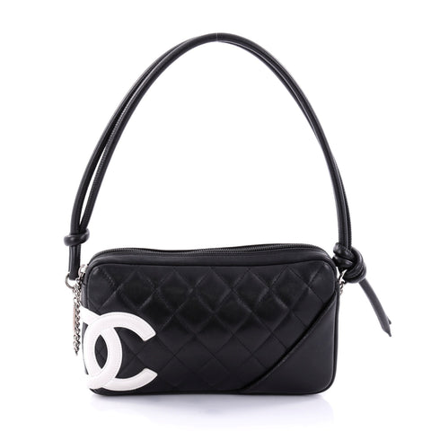 9249e3571494 Buy Chanel Cambon Pochette Quilted Leather Black 2701302 – Rebag