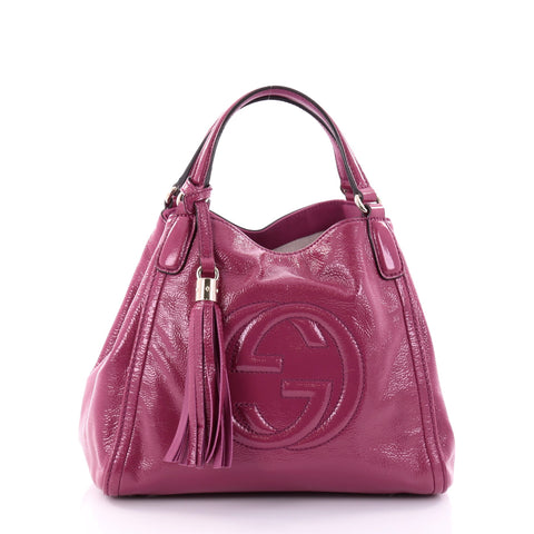 0a2c317ff08 Buy Gucci Soho Convertible Shoulder Bag Patent Small Pink 2704204 – Rebag