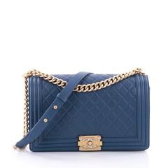 Chanel Boy Flap Bag Quilted Calfskin New Medium Blue 2704808