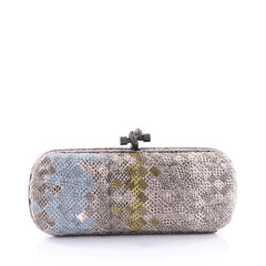 Bottega Veneta Box Knot Clutch Intrecciato Karung Long gray 2708702