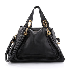 Chloe Paraty Top Handle Bag Leather Medium Black 2709801
