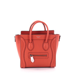 Celine Luggage Handbag Grainy Leather Nano Orange 2715603