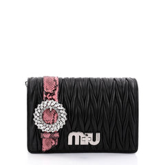 Miu Miu My Logo Shoulder Bag Matelasse Leather with Python Small Black 2716401