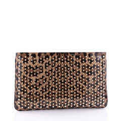 Christian Louboutin Loubiposh Clutch Printed Spiked Patent Brown 2727304