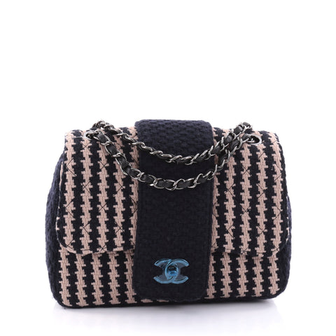 fafe544f73dfb1 Buy Chanel Elementary Chic Flap Bag Quilted Tweed Small Blue 2727801 – Rebag