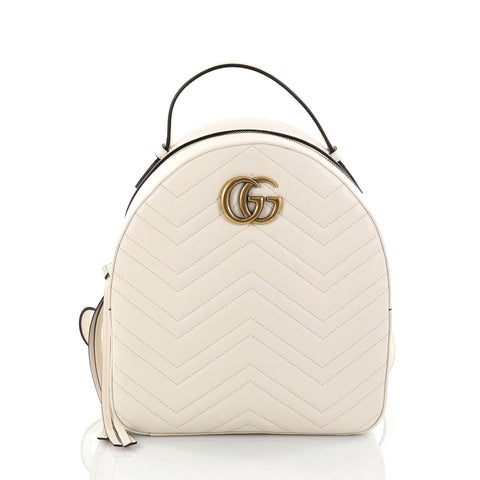 351327d7e93616 Buy Gucci GG Marmont Backpack Matelasse Leather Small White 2728001 – Rebag