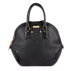 Burberry Orchard Bag Heritage Grained Leather with Ostrich Medium Black 2728101