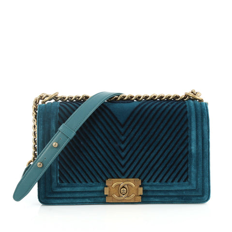 d3263a7cb814 Buy Chanel Boy Flap Bag Chevron Velvet Old Medium Blue 2733709 – Rebag