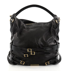 Burberry Bridle Gosford Hobo Leather Medium Black 2734201