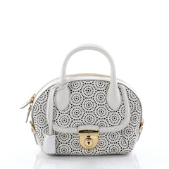 Salvatore Ferragamo Fiamma Satchel Laser Cut Leather Mini White 2735501