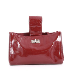 Chanel Convertible Mademoiselle Lock Clutch Patent Medium Red 2739601