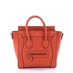 Celine Luggage Handbag Grainy Leather Nano Orange 2740901