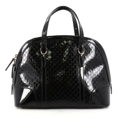 Gucci Nice Top Handle Bag Patent Microguccissima Leather Small Black 2741201