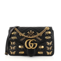 Gucci GG Marmont Flap Bag Embellished Matelasse Leather Medium Black 2742101