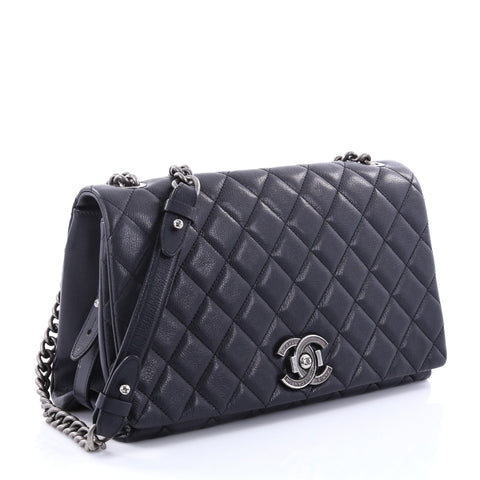 04a6824627a3 Buy Chanel City Rock Flap Bag Quilted Goatskin Large Blue 2742601 ...