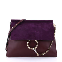 Chloe Faye Shoulder Bag Leather and Suede Medium Purple 2742701