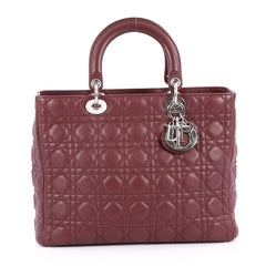 Christian Dior Lady Dior Handbag Cannage Quilt Lambskin Large Red 2743502
