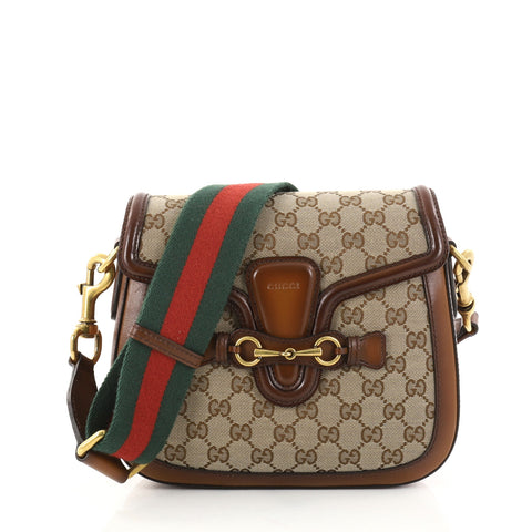 f986362d9d7d Buy Gucci Lady Web Shoulder Bag GG Canvas Medium Brown 2745601 – Rebag