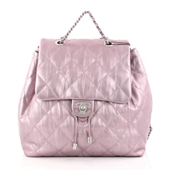 Chanel Ground Control Flap Backpack Quilted Iridescent purple 2749401