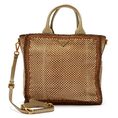 Prada Madras Two Handles Tote Woven Leather Large