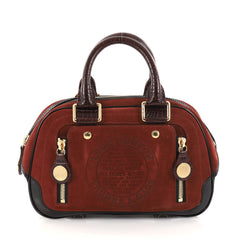 Louis Vuitton Havane Stamped Trunk Bowler Bag Suede PM 2750201