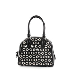 Alaia Zip Around Convertible Satchel Grommet Embellished Leather Mini Black 2750401